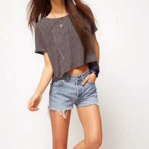 ASOS relaxed fit grey crop top